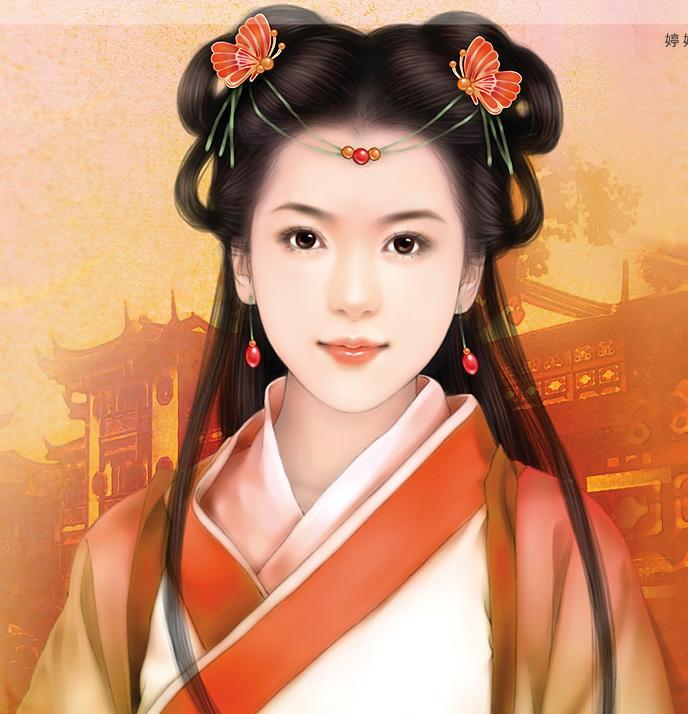 美丽精致的古装美女手绘图