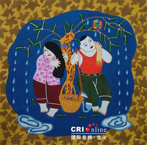 内黄农民画 避雨图片