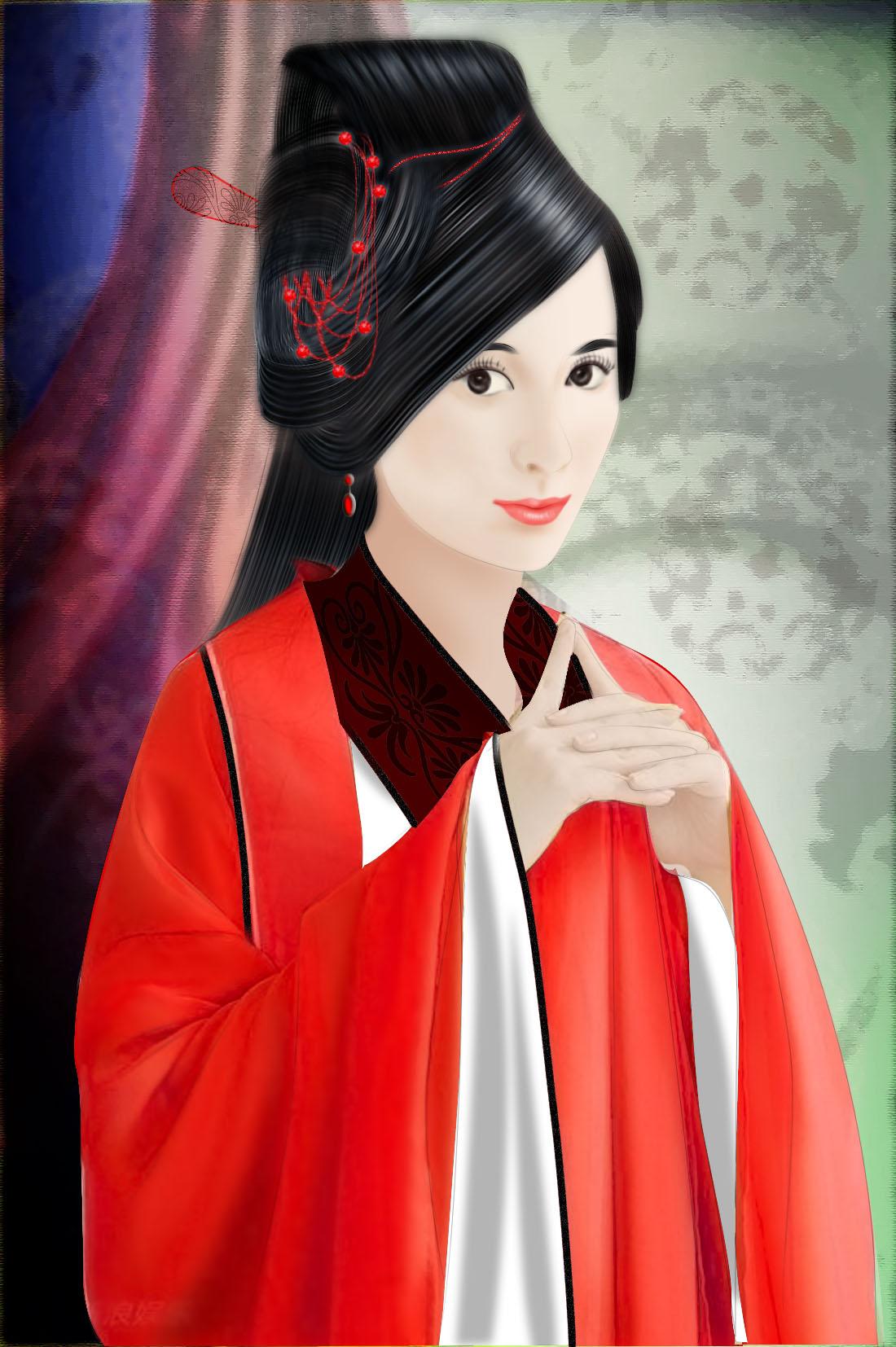 手绘古装红衣黑衣美女