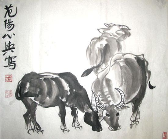 戴嵩画牛 戴嵩是唐代的着名画家,却被一个牧童指出错误.图片