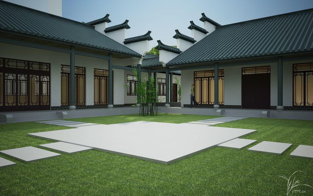 中式仿古建筑效果图 仿古建筑效果图 两层仿古建筑高清图片