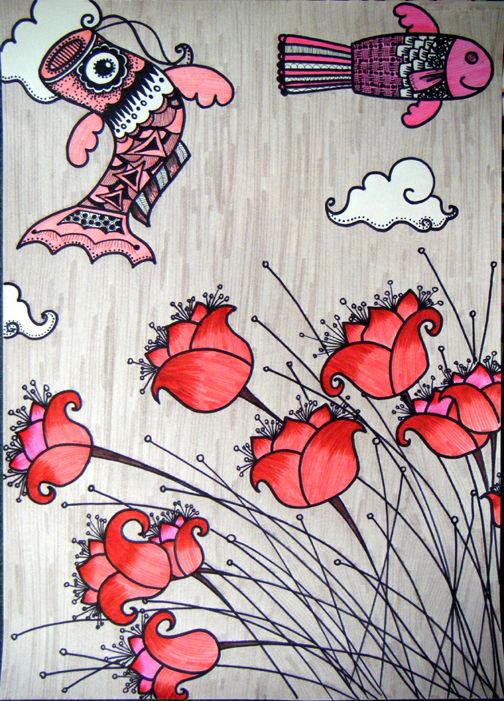 【蜡笔画范画】_画花蜡笔画大全   线描范画 - 唯美 - 儿童绘画   蝴蝶线
