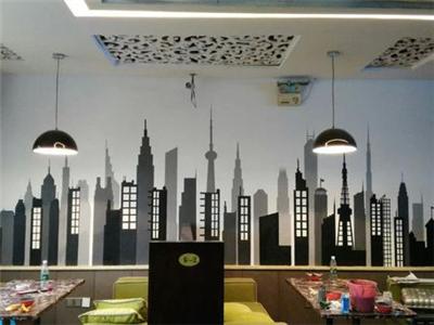咖啡厅墙绘图片