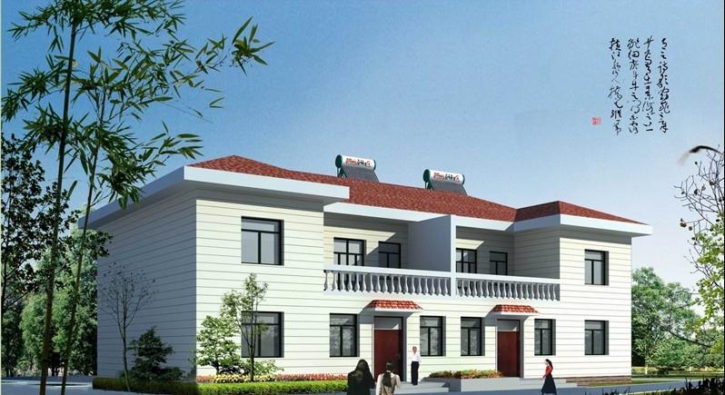 农村双拼住宅设计效果图欣赏_房屋建筑设计的-房屋建筑设计效果图 图片