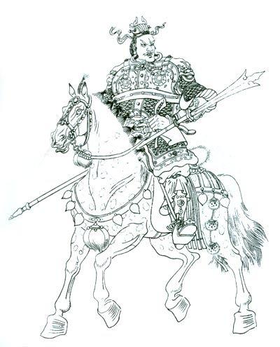 三国人物白描工笔画