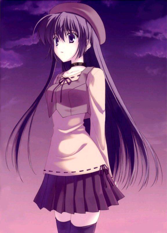 求穿紫色还有蓝色衣服的日本动漫少女图片
