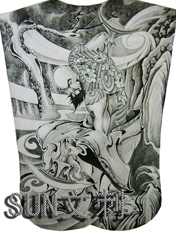 麒麟手稿纹身割线图; 罗汉纹身图片图片