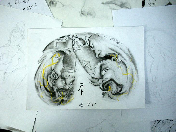 北京天下纹彩手稿_纹身吧图片