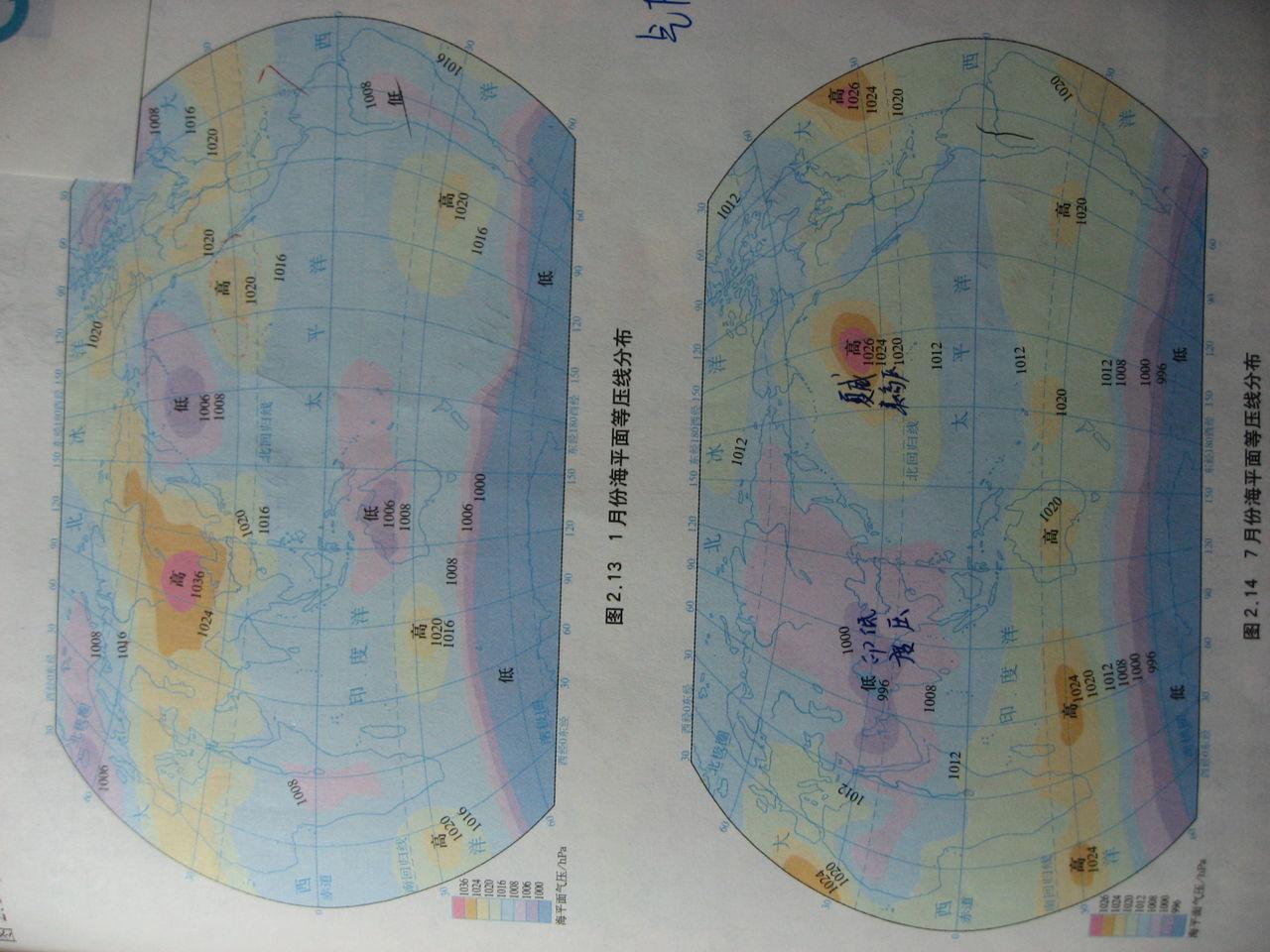 为什么无论是1月还是7月的世界海平面气压分布图片