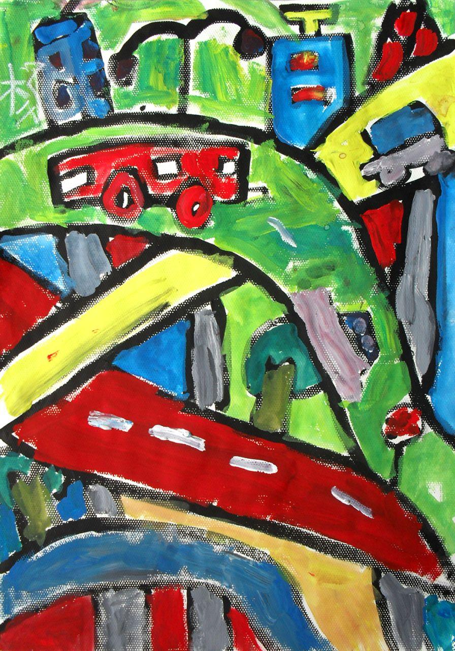 ... 咋画桥? 儿童画_美术作品 未来桥儿童画-美丽的长