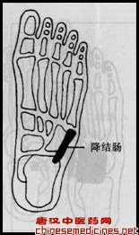 二十三,降结肠    【位置】位于左足掌中部,沿骰骨外缘下行至跟骨