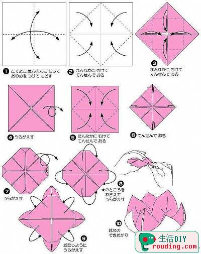 ... 的 折 法 紙 藝 diy 圖解 教程 圖說 黑 蓮花 的 折 法