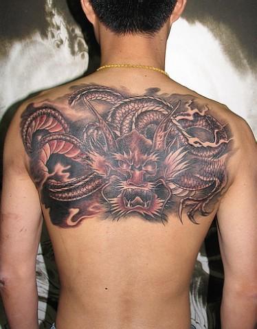 权志龙纹身清晰图/贵阳千色龙纹/过肩 龙纹身 图案 ...