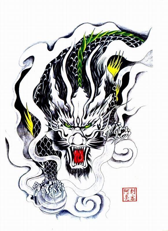 喜大壮的纹身图案 赵云半甲纹身手稿高清图片