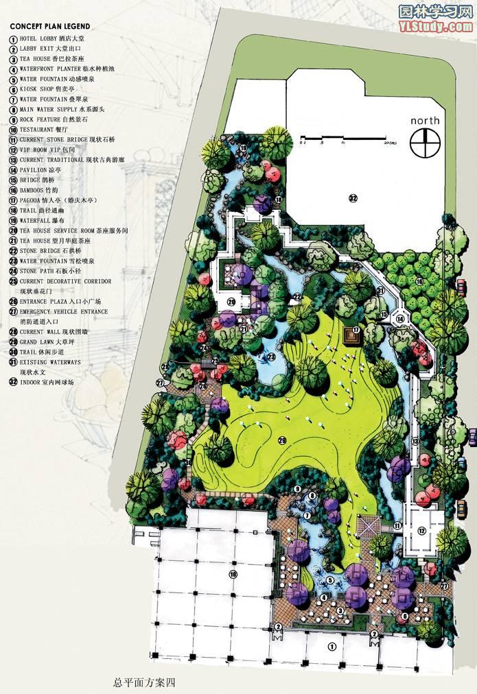 公园景观剖面图; 手绘园林景观效果图图集5033; 平面设计案例欣赏图片