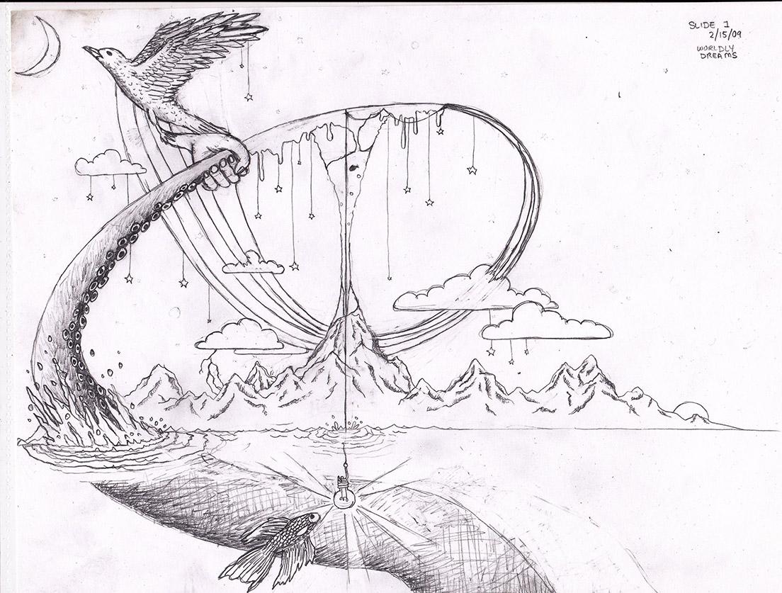 求关于 梦 的创意设计素描图片高清图片图片