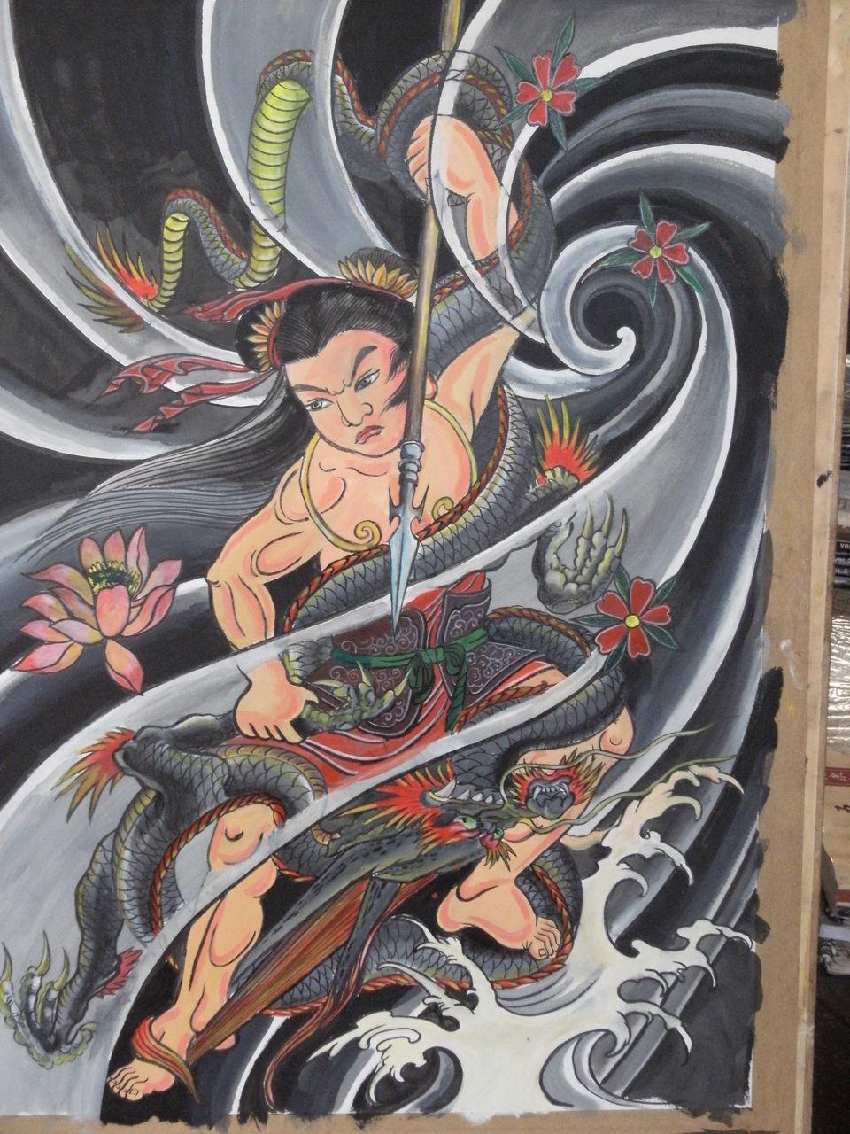 八臂哪吒纹身手稿图分享展示图片