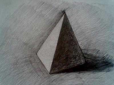三棱柱素描图片_三棱锥画法|三棱锥展开图