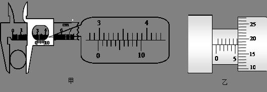 cm,圖乙中螺旋測微器的讀數是圖片