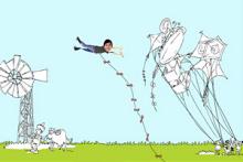 在春天里奔跑作文_春天小孩放风筝的画_春天的画四年级简单的_春天的画四年级优秀 ...