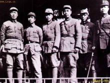 左起:陈毅粟裕傅秋涛周恩来朱?#21496;?#21494;挺