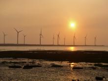 臺灣臺中高美濕地的風力發電機