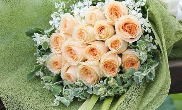 香槟玫瑰唯美图片_【可乐花艺团购】_花艺香槟玫瑰扇形花束_百度糯米