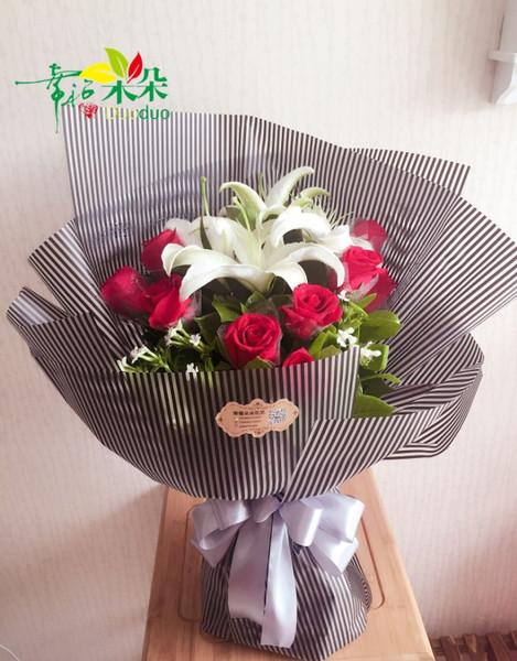 玫瑰礹c.??$9.?_c款(3朵百合+9朵红玫瑰小清新花束)