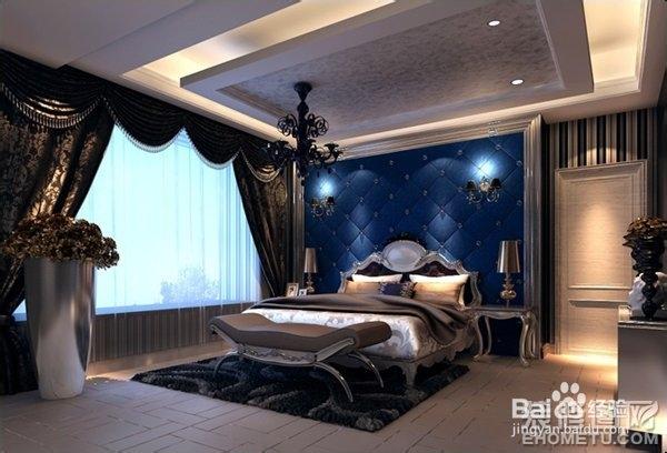 优雅高贵的欧式装修风格,床头的软包设计,配上柔和的灯光尽