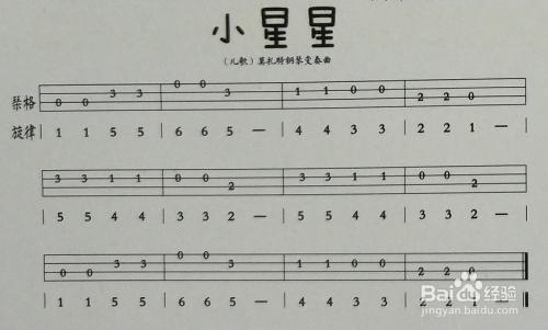 尤克里里新手入门曲谱_新手入门ukulele尤克里里小星星指弹教程