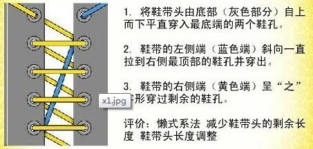 鞋帶的各種系法:[5]鞋店系法/鋸齒系圖片