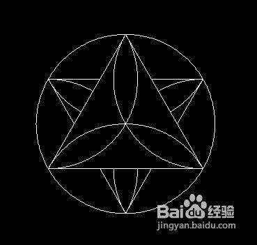 三角形相切于圓的花紋練習題,主要用到了的命令: 畫圓,旋轉復制,鏡像圖片