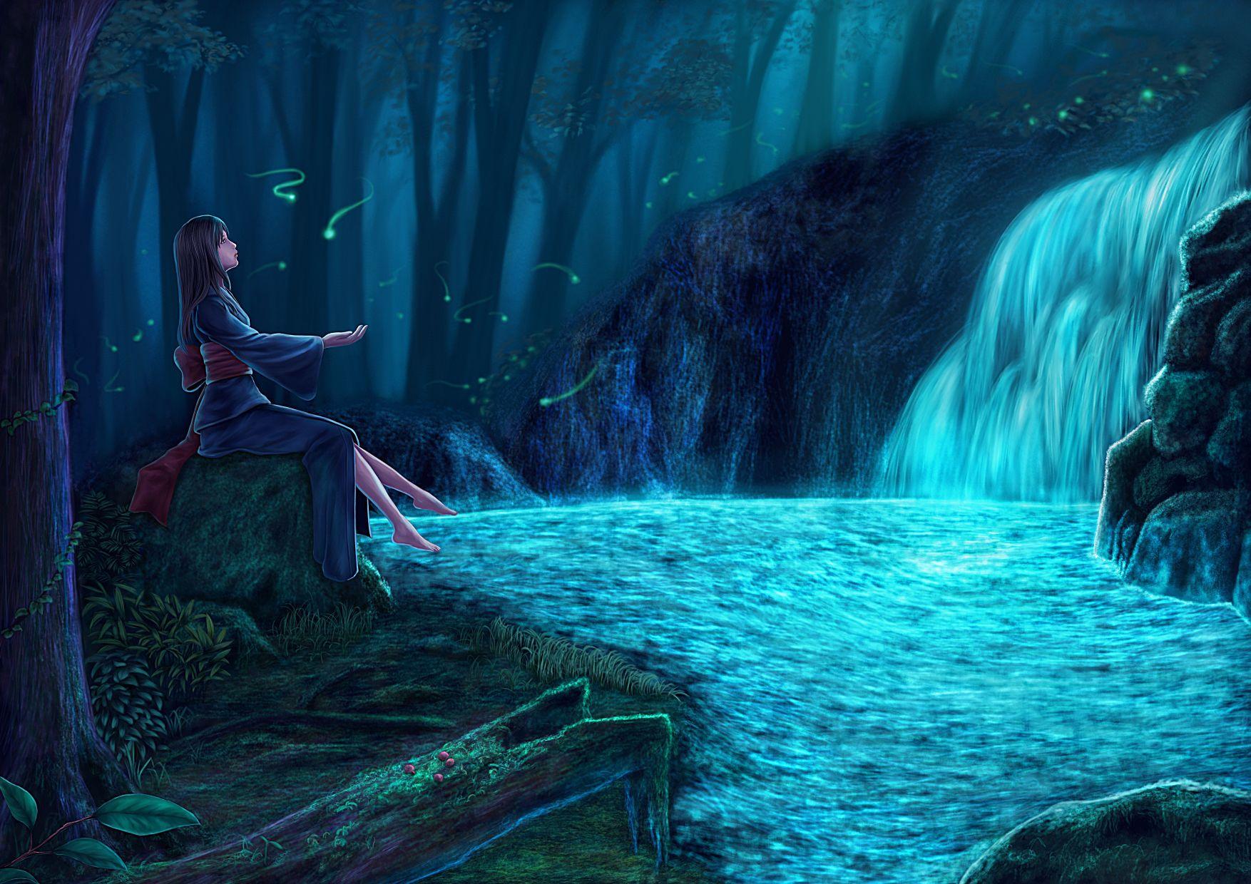 泡在水里的人的图片_一个动漫女孩, 赤脚泡在水里,穿着类似和服的。 周围环境有 ...
