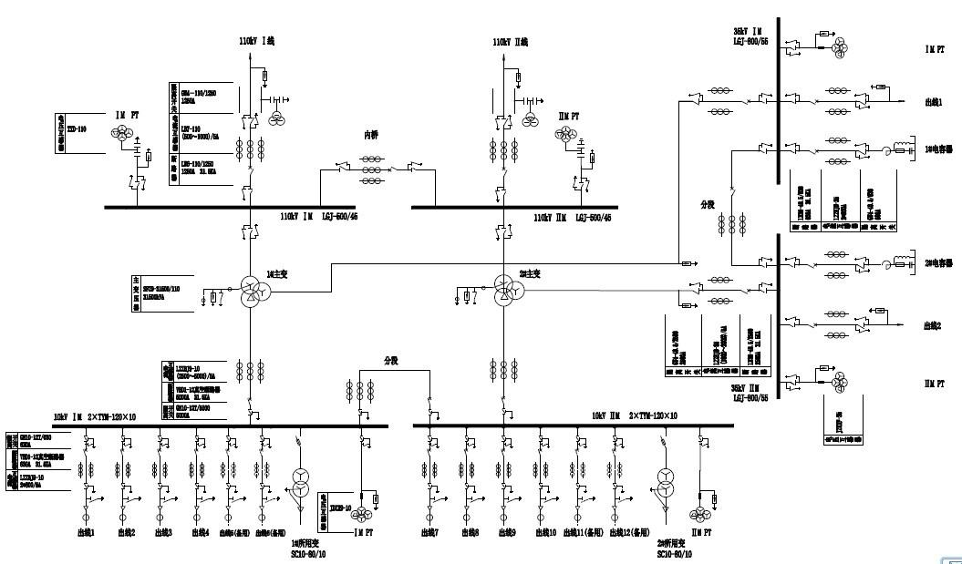35kv变电所主接线图_110KV降压变电站一次部分设计怎么画主接线图_百度知道