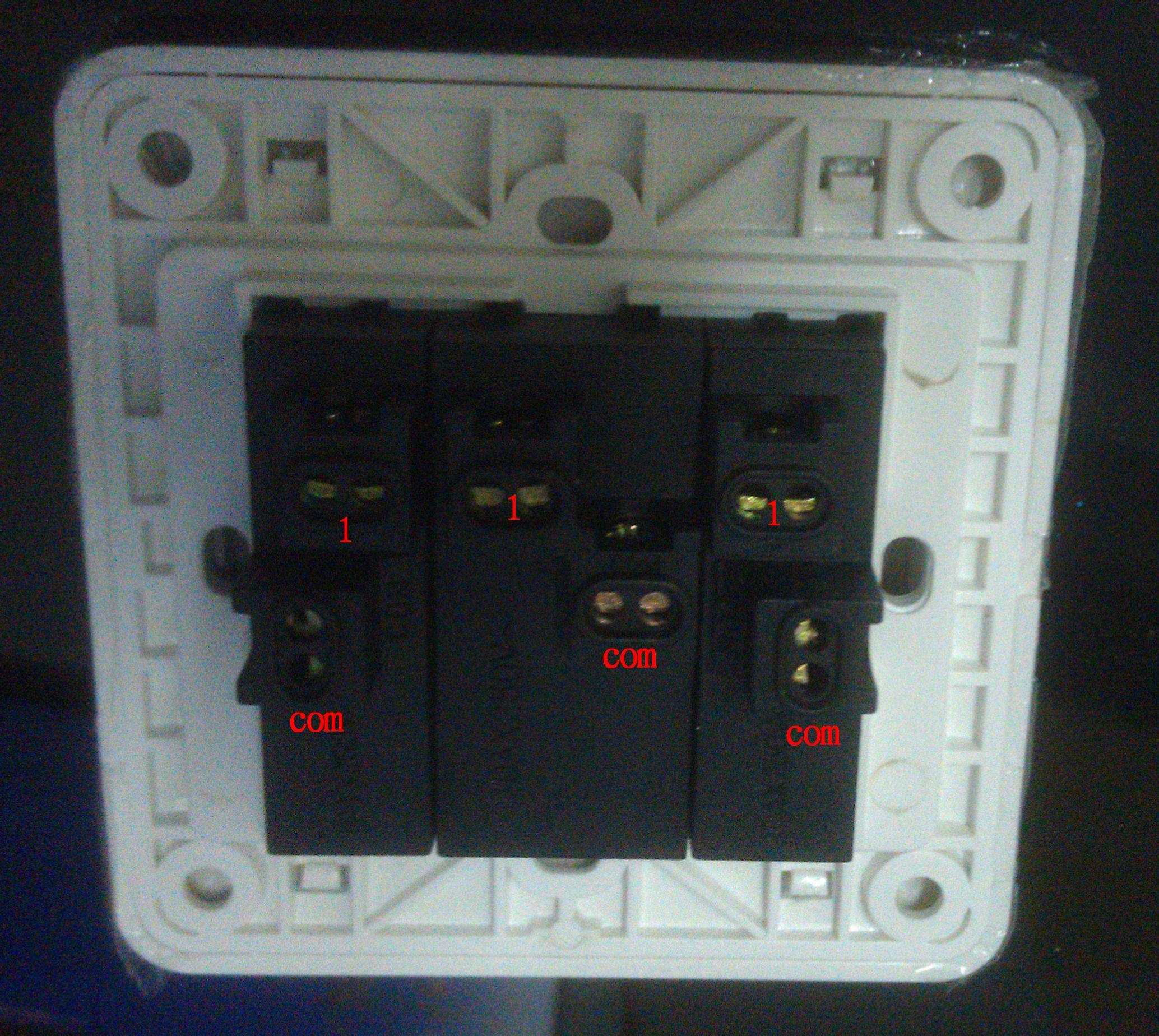 单开3控开关接线图_西门子3开单控插座怎么接线,开关上面有6个孔,可以暗盒里面 ...