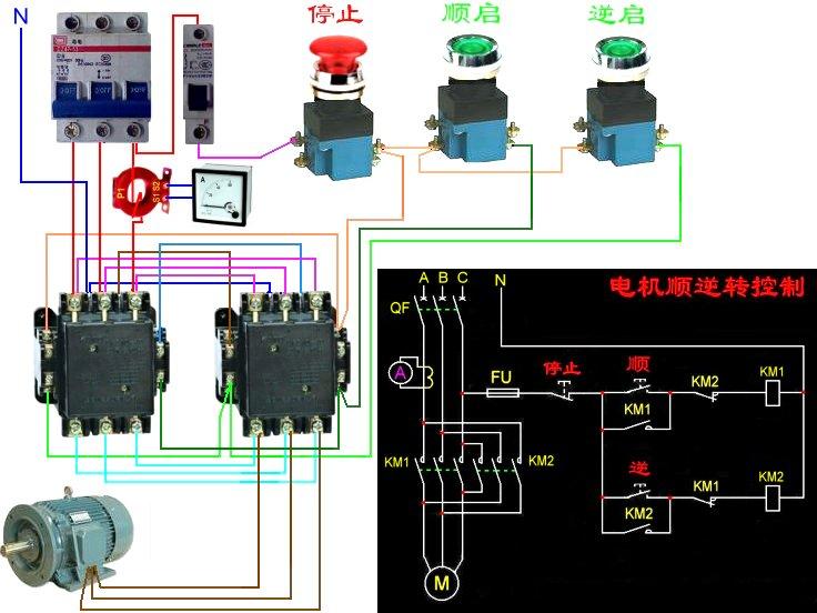 220v交流电机正反转_电机正反转电路图 要求1接触器线圈220v 2 能测量电机电流 3 带 ...