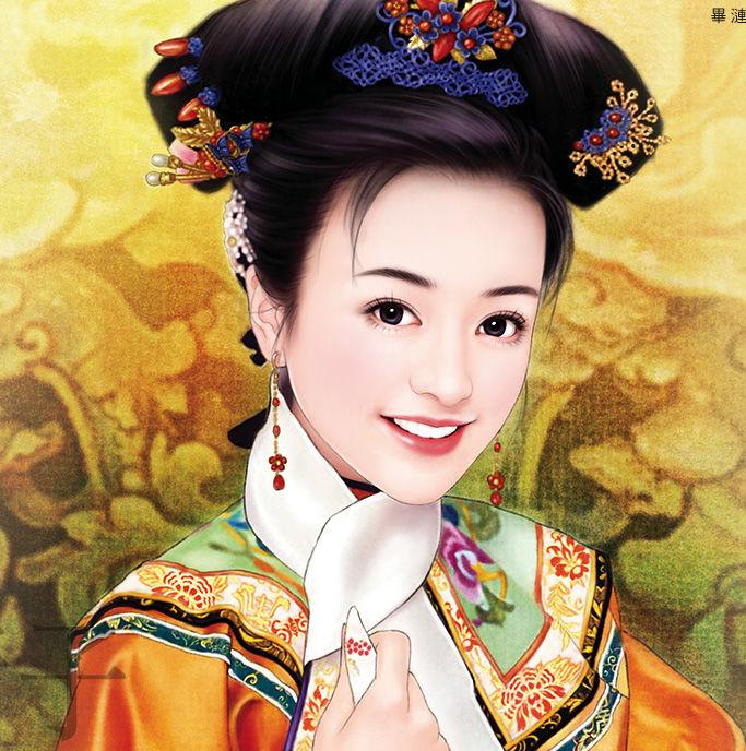 手绘古代公主_清朝古装女子描写和手绘清装男子图片 图片