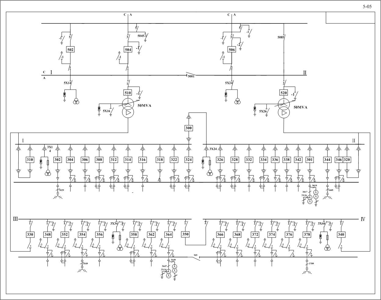 35kv变电所主接线图_急需110kv 降压到10kv电气主接线图,110kv侧是单母线分段带旁路 ...