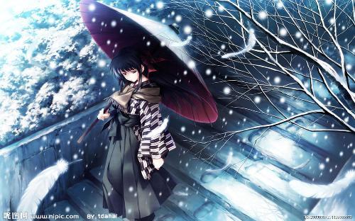 一个女人拿一把伞_求一张一个人在雨中提着伞的的动漫女孩的图片。_百度知道