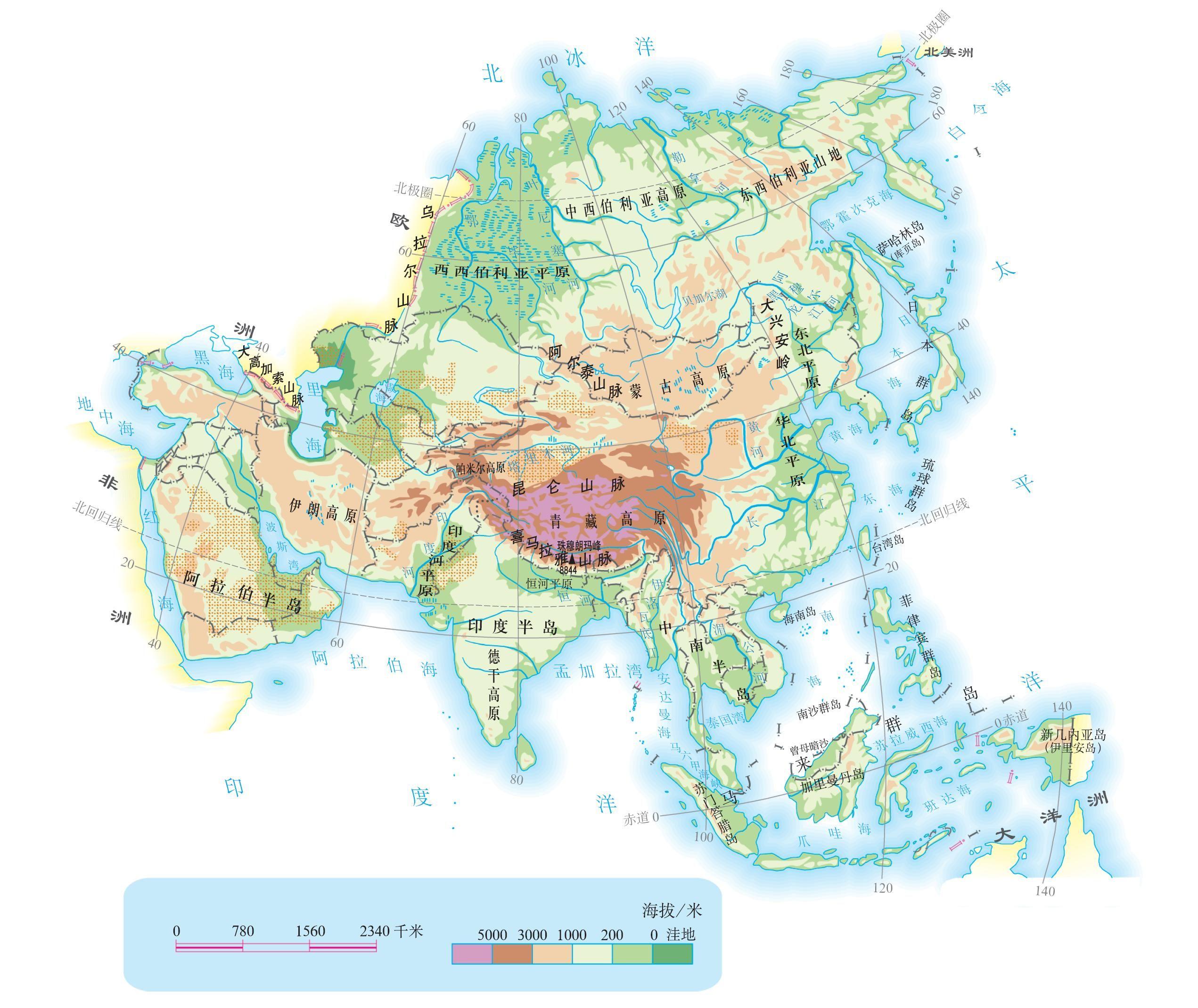 亚洲地形地图_想知道:阿拉伯半岛 亚洲地形的地图 在哪_百度知道