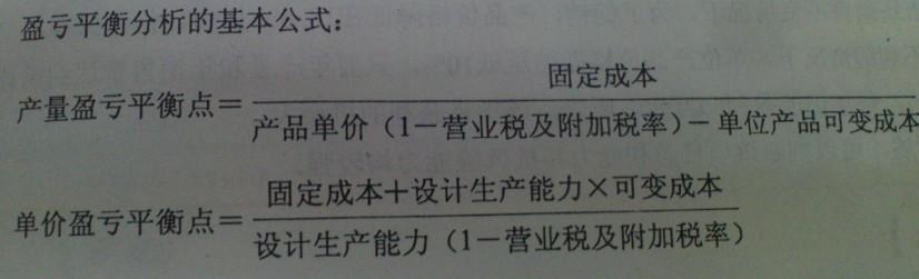 盈亏平衡点计算公式_盈亏平衡点问题 1 2011-03-02 怎样计算企业的盈亏平衡点?