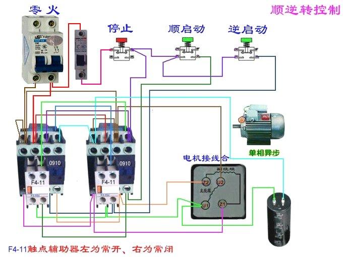 220v交流电机正反转_求220V接触器正反转实物接线图,只要断路器,按钮,接触器,热继电器 ...