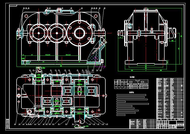二级减速器箱体cad_减速器装配图和零件图图片_减速器装配图和零件图图片下载