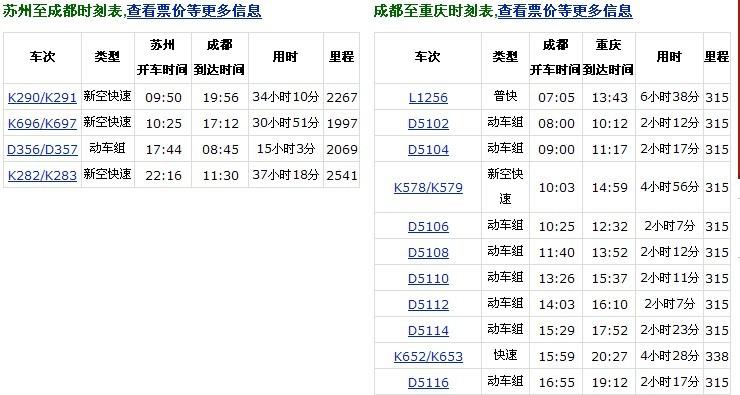 上海到成都的火车时刻表_请问苏州到重庆有动车了吗?票价多少?
