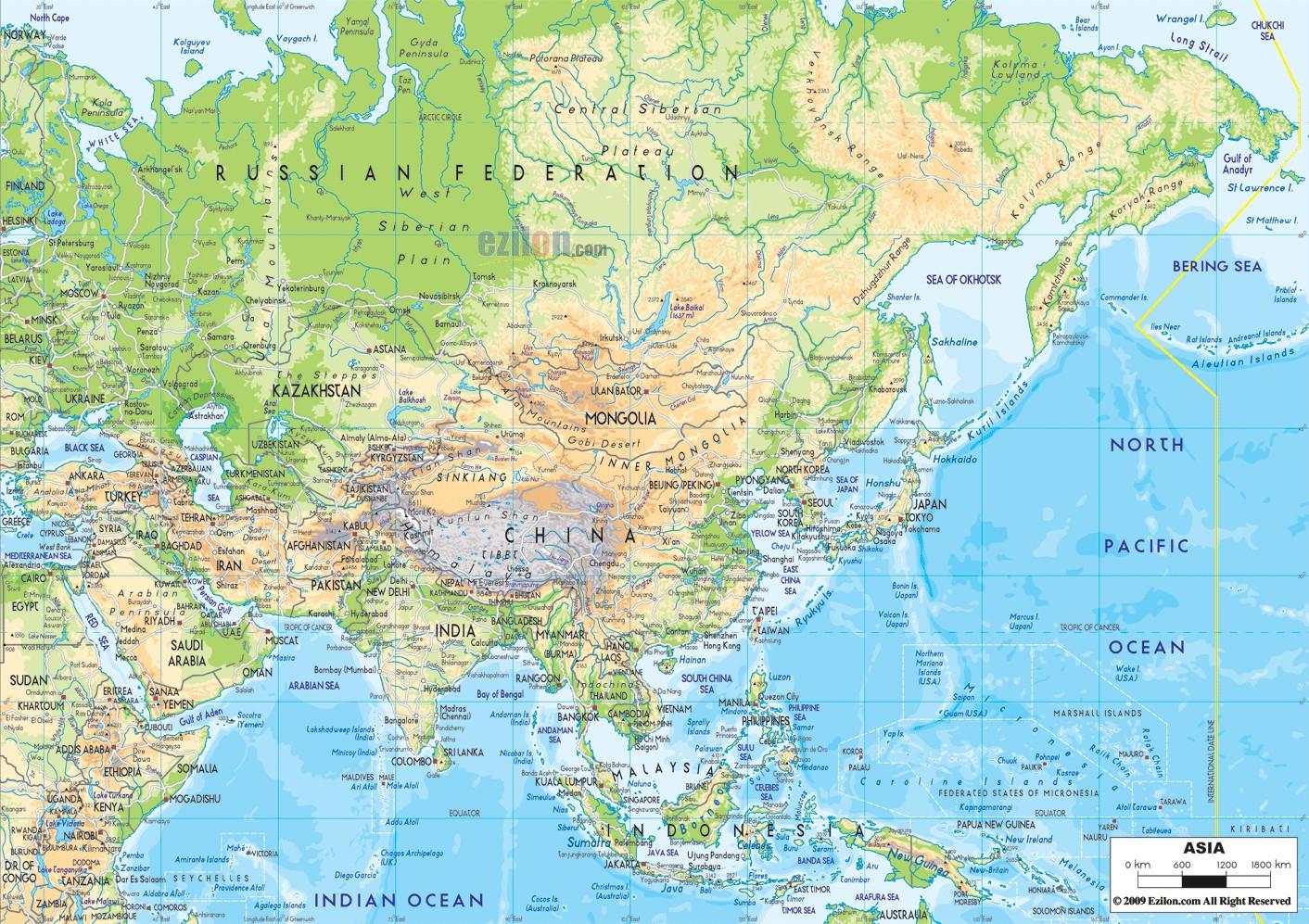 亚洲地形地图_亚洲地形图。_百度知道