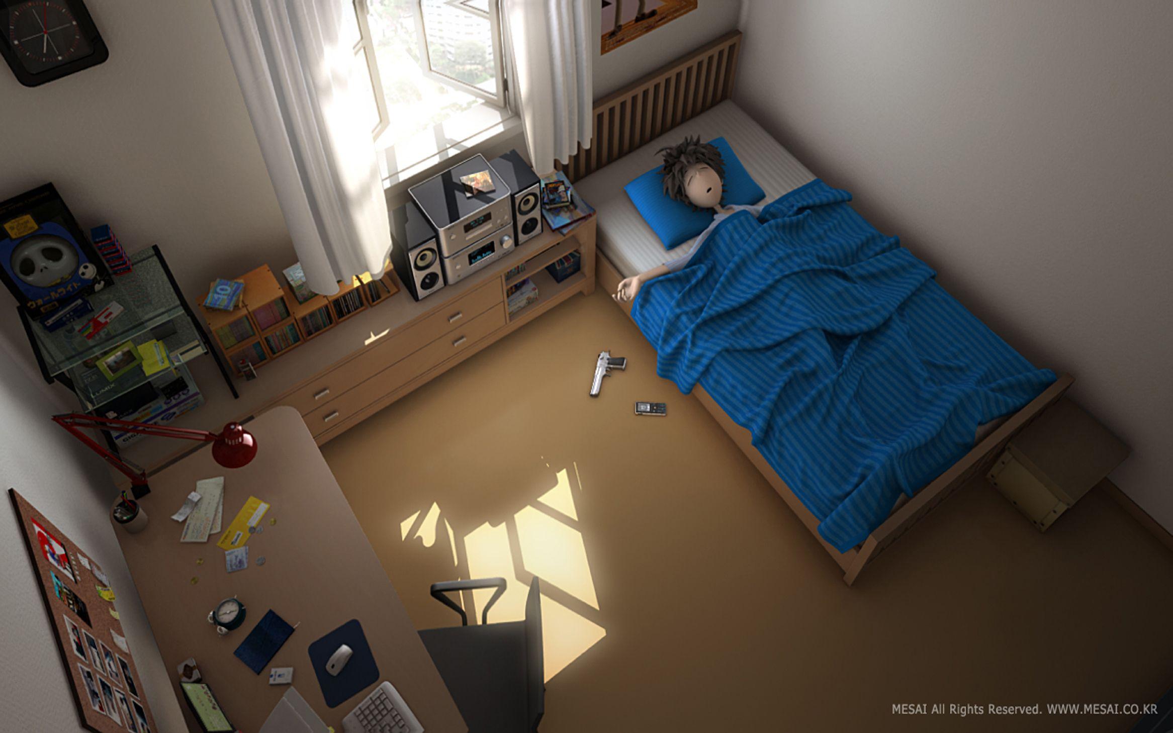 百度雨滴桌面_有一张图片,想做笔记本电脑的背景,图上是一个小男孩的卧室 ...