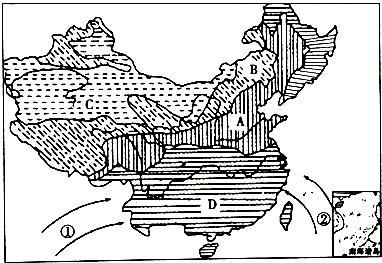 中国干湿地区空白图_读中国干湿分布图,回答下列问题.(1)字母A、B、C、D代表我国 ...