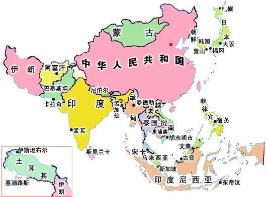 亚洲地理分区_亚洲的地理分区,亚洲的地形,亚洲的气候 图