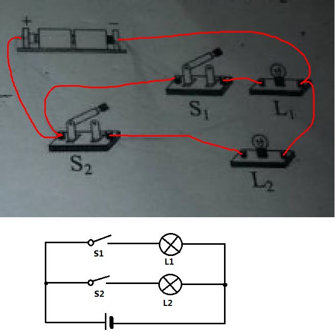 并联电路实物连接_并联电路图和实物图怎么画_百度知道