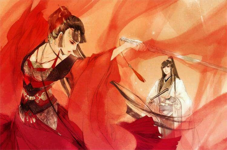 张舞姓_全图是这张,破阵之舞,叶雍容(红衣女)与项空月(白衣男),出自江南的